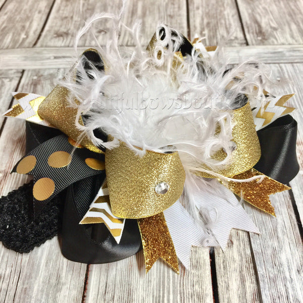 Buy Big Boutique White Black and Gold Over the Top Hair Bow Online
