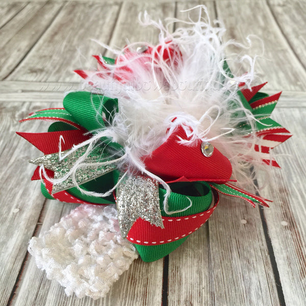 Buy Boutique Christmas White Red and Green Over the Top Big Hair Bow Online
