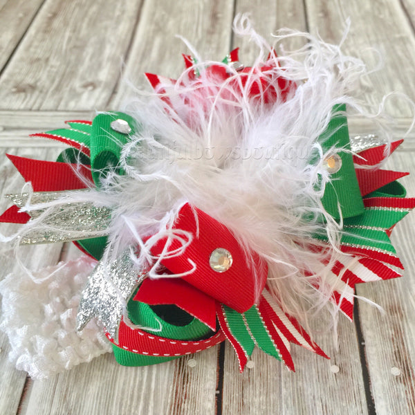 Boutique Christmas White Red and Green Over the Top Big Hair Bow