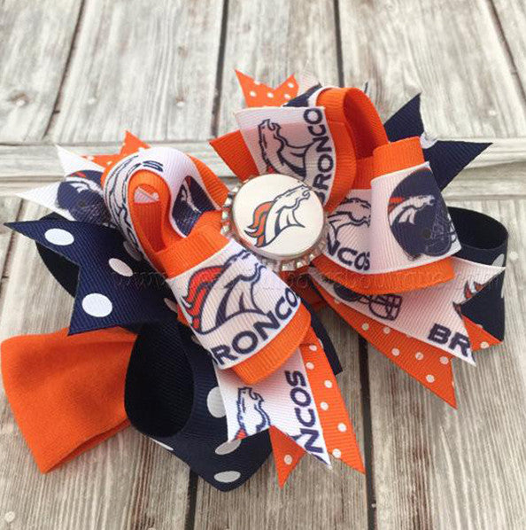 Denver Broncos Fancy Girls Hair Bow Clip or Headband