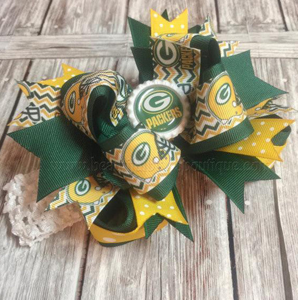 564a7b38 Greenbay Packers Fancy Girls Hair Bow Clip or Headband