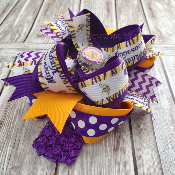 Buy Minnesota Vikings Boutique Hair Bow or Baby Headband Online
