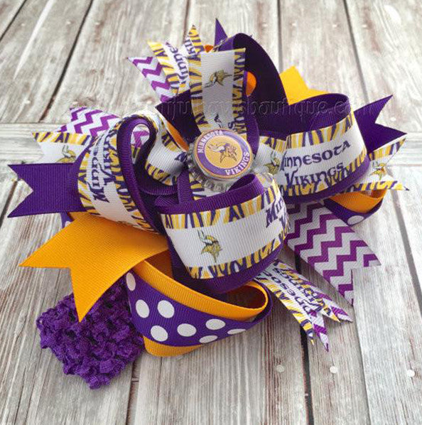 Minnesota Vikings Boutique Hair Bow or Baby Headband