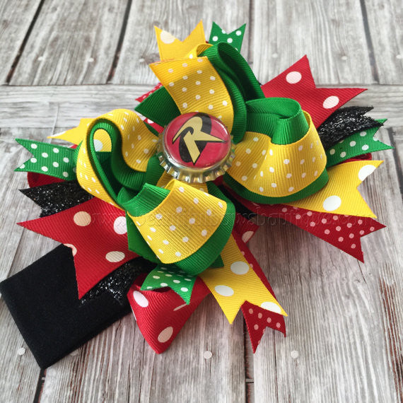 Girls Robin Halloween Costume Hair Bow