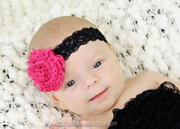 Shabby Black and Hot Pink Rose Vintage Newborn Baby Girl Headband