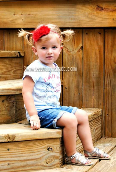 Mia Rose Red Bitty Flower Headband
