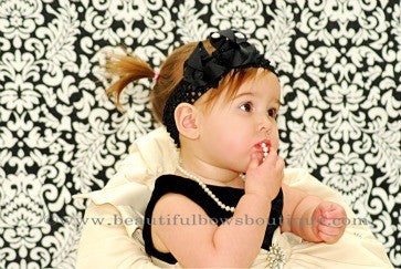 Dainty Black Layered Infant Bow Crochet Headband