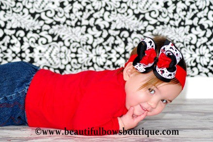 Buy Minnie Mouse Red & Black Girls Hair Bow Clip or Headband Online