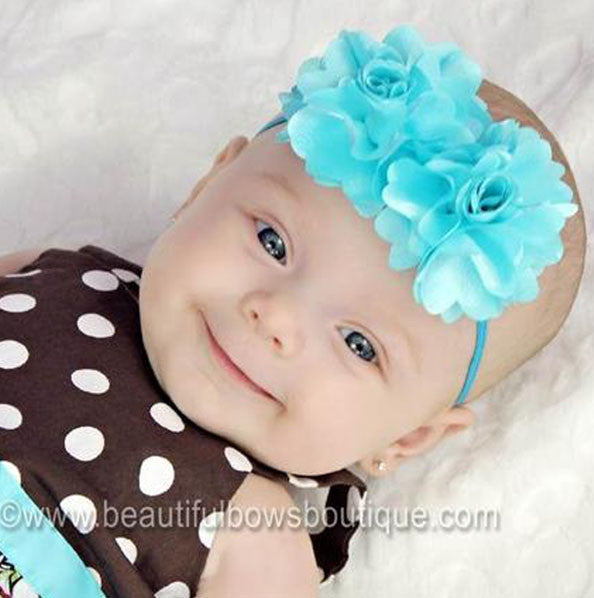 Satin Double Bloom Aqua Fabric Flower Bitty Headband