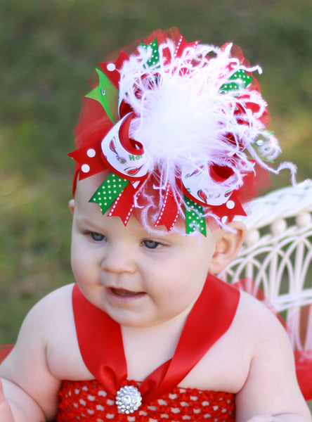 Buy Infant Christmas Tutu Dress, Red and Green Tulle Dress and Over the Top  Bow Online