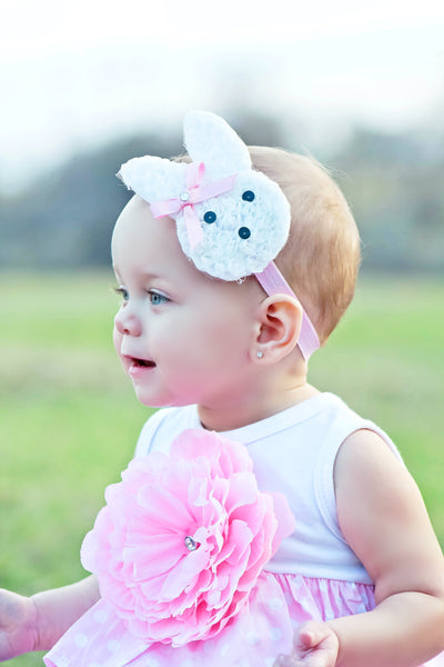 Shabby White Chiffon Easter Bunny Baby Girls Headband or Clippie