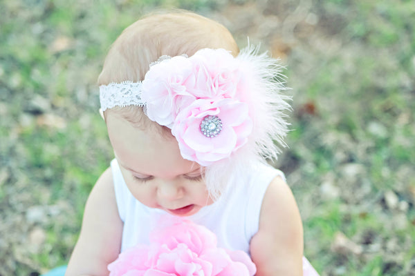Elegant Light Pink Baby Vintage Lace Headband