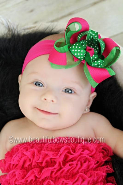 Buy Dainty Shocking Pink and Green Swiss Dot Girls Hair Bow Clip or Headband Online