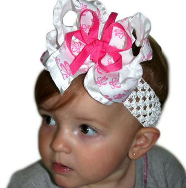 Ruffled Ballerina Girls Hair Bow Clip or Headband