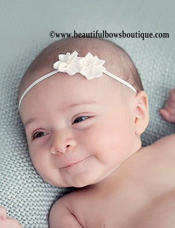 Buy White Double Starlet Bitty Flower Headband Online
