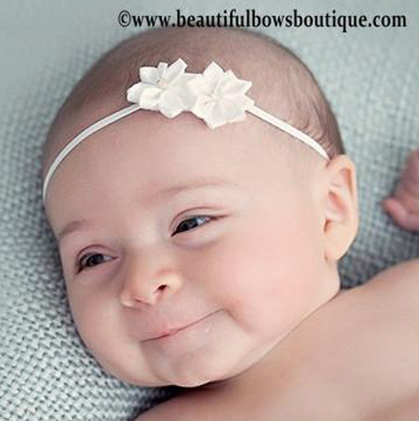 White Double Starlet Bitty Flower Headband