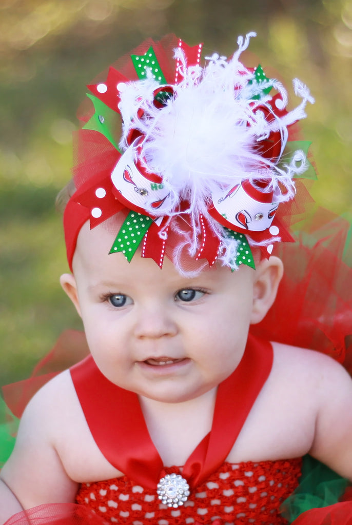Over the Top Christmas Santa Hat Tulle Girls Hair Bow Clip or Headband