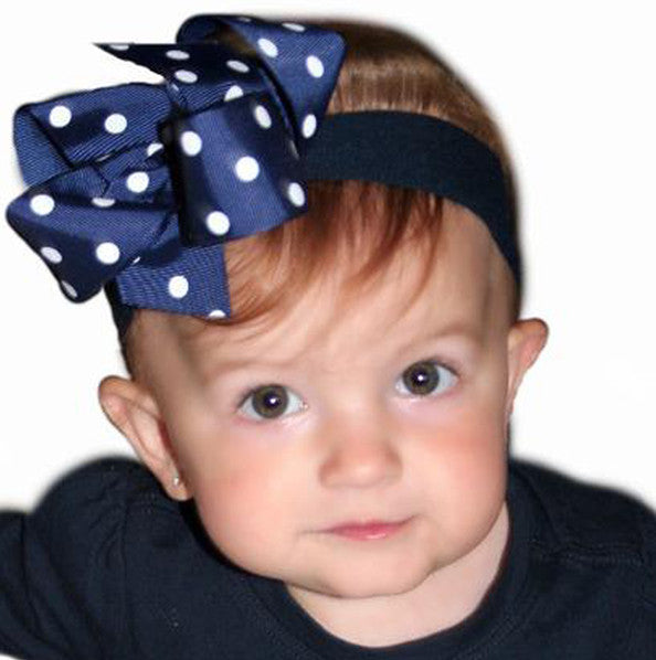 Navy Blue Polka Dot Girls Hair Bow Clip or Headband