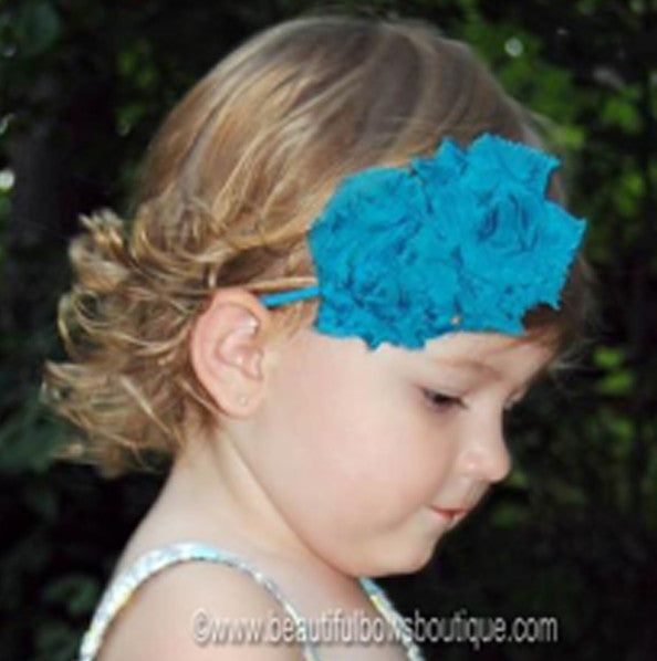 Mia Rose Turquoise Fabric Flower Bitty Band