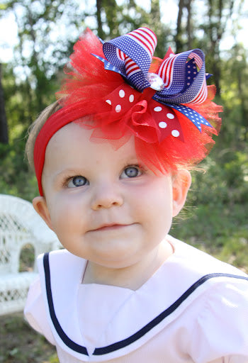 Patriotic Girls Tulle Hair Bow Baby Headband