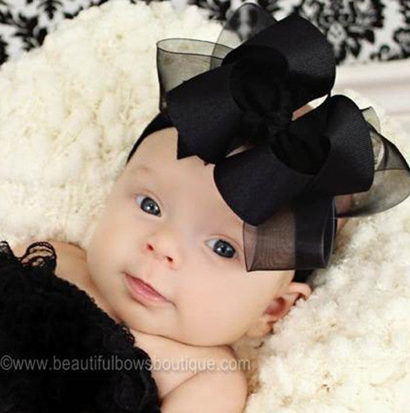 Dazzling Sheer Grosgrain Black Girls Hair Bow Clip or Headband-CHOOSE COLOR