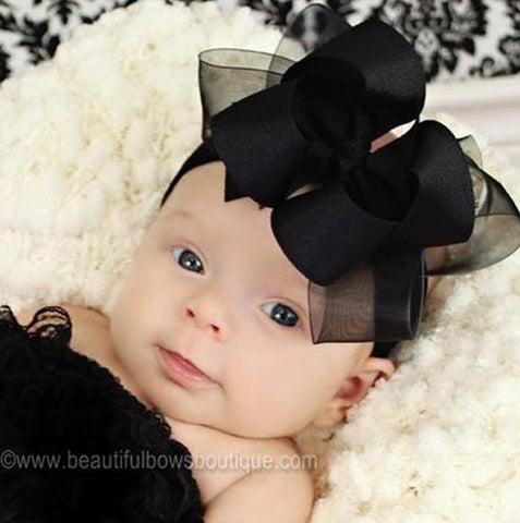 Dazzling Sheer Grosgrain Black Girls Hair Bow Clip or Headband-CHOOSE CHOOSE COLORS