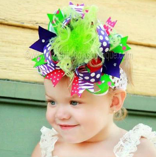 Over the Top Bow Headband, Girls Hair Bow Purple Green Pink