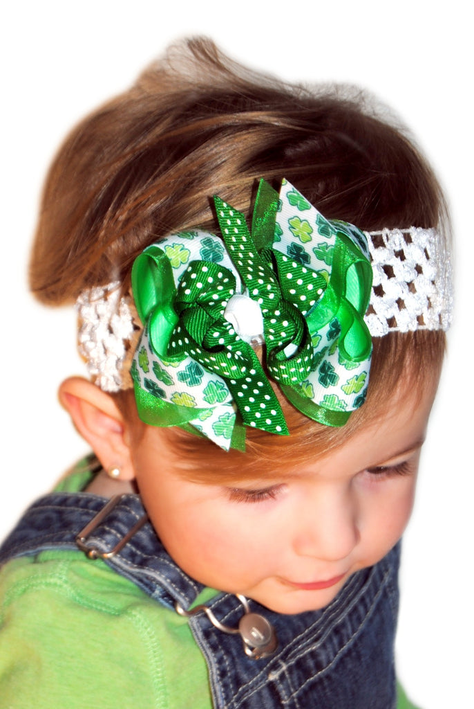 "NEW /""Green Shamrocks/"" Hairbow Grosgrain Ribbon Hair Bow Girls St Patty/'s Day"