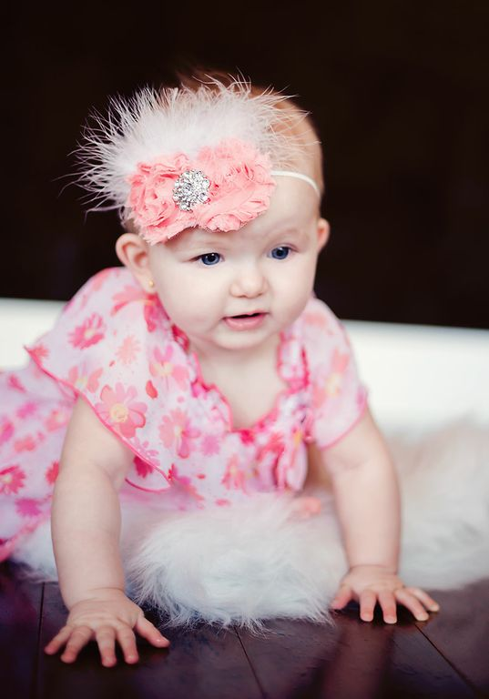 Mia Sparkle Feather Light Coral Peach Chiffon Fabric Vintage Shabby Fabric Flower Bitty Headband