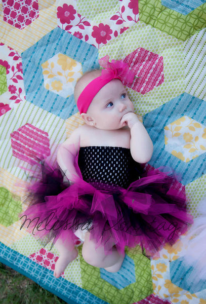Newborn Infant Girl Hot Pink and Black Tutu Dress
