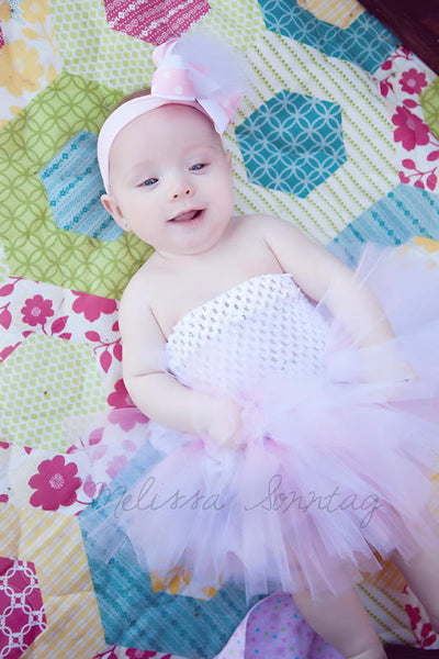 Pink and White Newborn Infant Tutu Dress