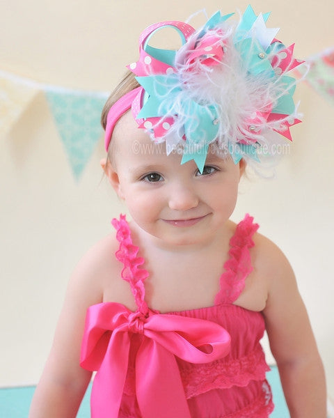 Buy Aqua Blue and Hot Pink Over the Top Girls Hair Bow Clip or Headband Online