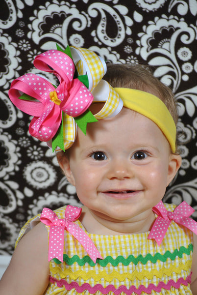 Pink Green and Yellow Kiara Girls Hair Bow Clip or Headband
