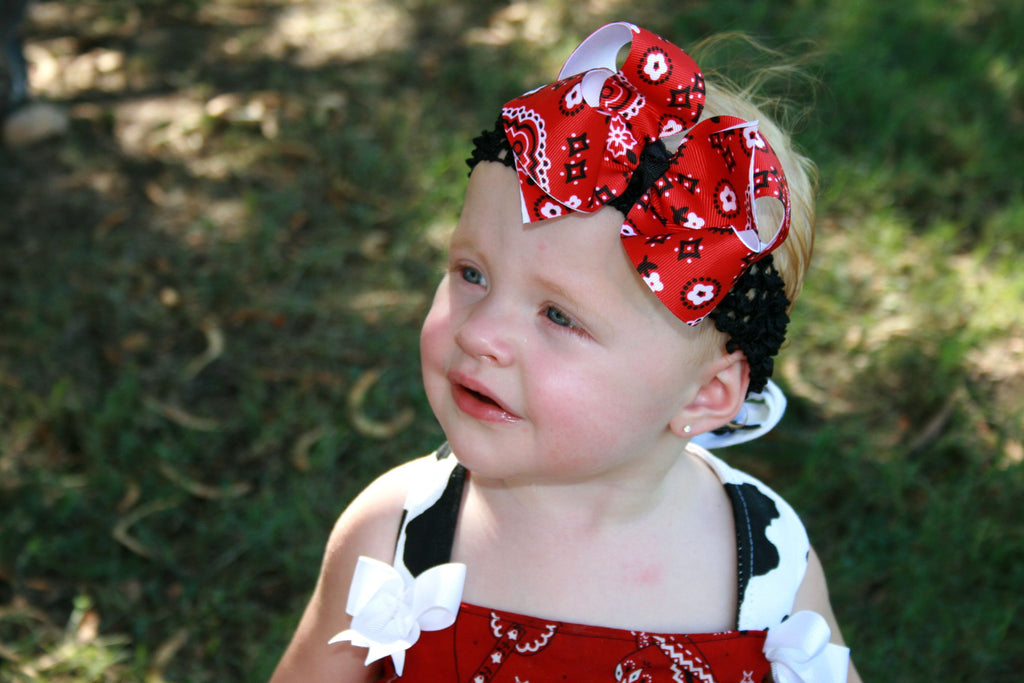 0c7b360484f Buy Girls Red Bandana Hair Bow Clip or Baby Headband Online at ...