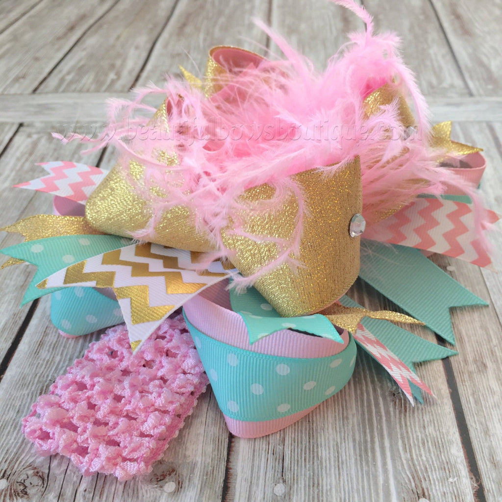 Over the Top Bow Headband Aqua Pink Lavender, Big Easter Bow