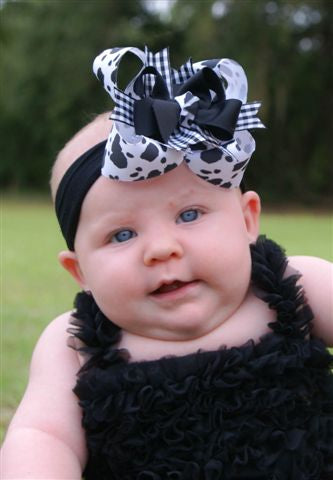 Buy Girls Black and White Cow Print Hair Bow Clip or Headband Online