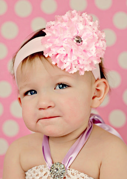 Light Pink Lace Rose Flower Infant Toddler Headband