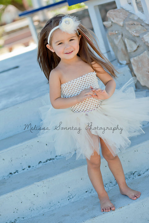 Infant Toddler Girl Off White Ivory Tutu Dress