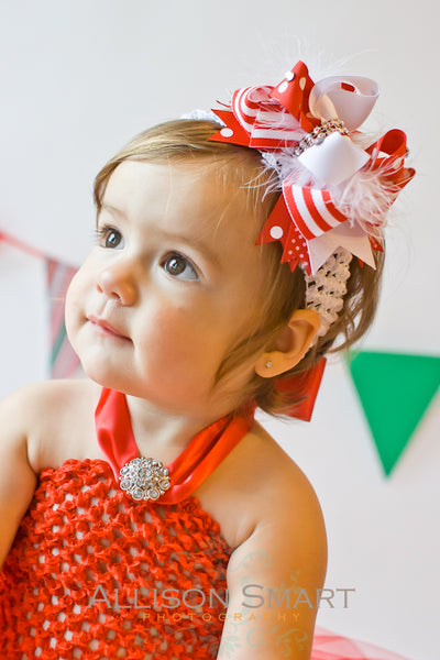 Fancy Stripes Red and White Girls Hair Bow Clip or Baby Headband