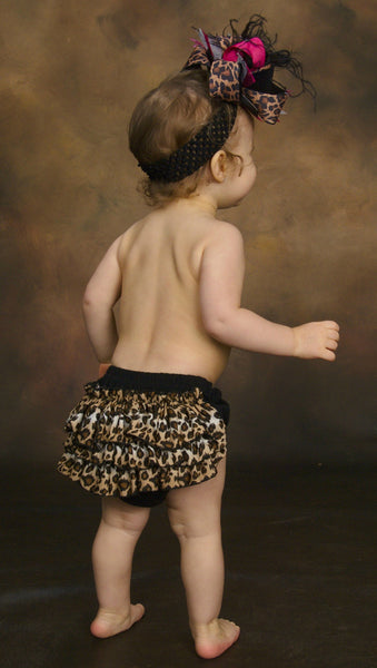Girls Leopard Ruffled Bloomers Diaper Cover