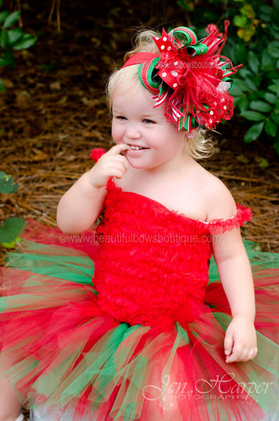 Big Red Green Christmas Over The Top Hair Bow or Infant Headband
