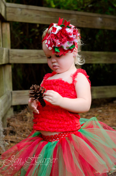 Big Dot Red Green Christmas Over the Top Hair Bow or Baby Girls Headband