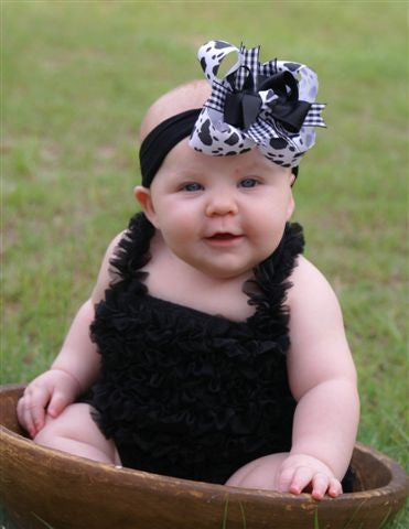 Girls Black and White Cow Print Hair Bow Clip or Headband