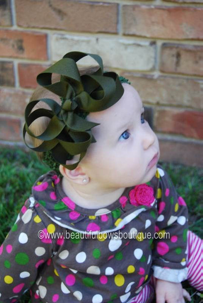 Buy Olive Army Green Double Boutique Girls Hair Bow Clip or Headband Online