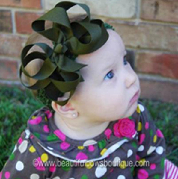 Olive Green Double Boutique Girls Hair Bow Clip or Headband