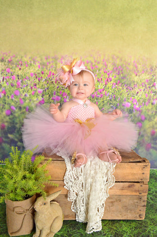 Pink and Gold 1st Birthday Dress and Hair Bow
