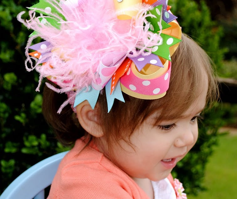 Big Spring Fun Over the Top Hair Bow Clip or Baby Girls Headband