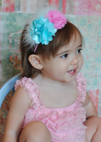 Shabby Aqua and Hot Pink Chic Vintage Baby Headband