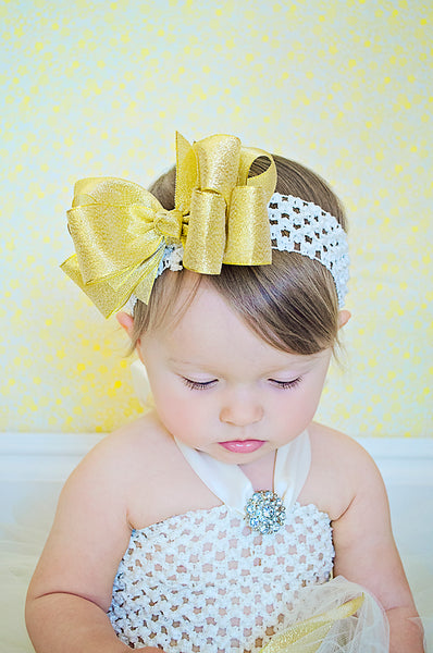 Sparkling Fancy Metallic Gold and Ivory Tutu Dress
