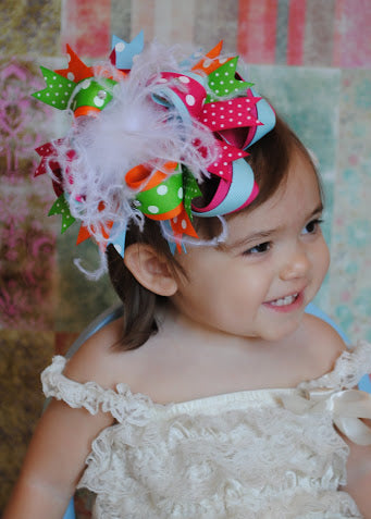 Big Boutique Spring Rainbow Over the Top Hair Bow Baby Headband